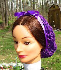Civil War Dress Victorian Style Ladys Deep Royal Purple Cotton Crochet Snood~Net