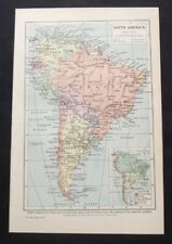 Vintage Map: South America, Harmsworth's Universal Encyclopedia, 1922, Colour