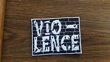 VIO-LENCE,IRON ON WHITE EMBROIDERED PATCH