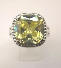 925 Sterling Silver Ring With Green Amethyst UK V 1/2 US 10.75 (rg1093)