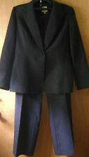 Women's Anne Klein 2pc Black Pin Stripe Formal Dress Pants Jacket Suit Set 10