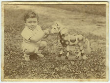 PHOTO ANCIENNE - CHEVAL DE BOIS JOUET -CHILD OLD TOY HORSE FUN -Vintage Snapshot