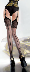 Stockings with Seams & Mock Lace Pattern to the Tops in Black, White, Nude S,M,L