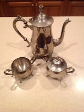 Vintage  Silver Plated on Brass 4 pieces Tea Set marked EP BRASS
