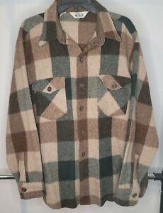 Vintage Woolrich Plaid Button Up Shirt XL Brown Tan Green