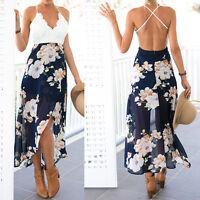 Women Summer Boho Lace Long Maxi Dress Evening Party Cocktail Beach Sundress*TOP