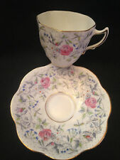 Rosina English Bone China Cup & Saucer, Roses, Blue/White Flowers, Gray Dots!
