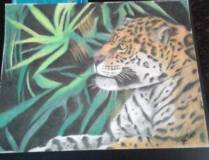 Cheetah color pencil drawing/wildlife/original artwork/big cat/jungle