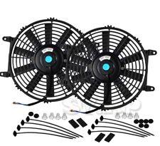 "2X Jdm 10"" Inch Radiator Fan Thin Electric Cooling 12V 1500Cf Black+Mounting Kit"