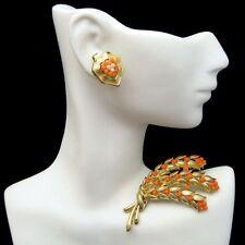 Faux Coral Pearls Flowers Gold Plated Crown Trifari Vintage Brooch Pin Earrings