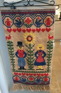 Vintage folk Hand Made Tapestry Wall Hanging