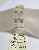"""Vintage Abalone Bracelet 7 1/4"""" 16mm"""