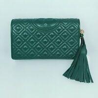 Tory Burch Fleming Soft Wallet Crossbody Arugula Green