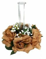 Candle Ring BROWN Wedding Party Table Centerpieces Silk Roses Flowers