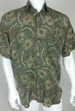 Sharper Image Mens Shirt Size Small Paisley Geometric Button Front 100% Silk