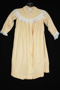RARE FRENCH VINTAGE COTTON GIRLS YELLOW & WHITE NIGHTGOWN SIZE 24M