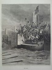 Gustave Dore London A Pilgrimage Boat Race On Thames Engraving 1872