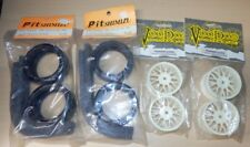 1/10 Trickbits 26mm Y Spoke White Wheel + Pit Shimizu Slick Racing Tyre Set for