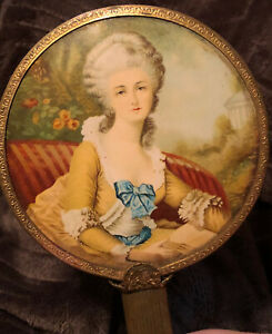 """Antique  Celluloid  beveled Glass Vanity Mirror """" French Lady Portrait """""""