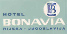 "Z4062-RIJEKA, JUGOSLAVIJA, HOTEL BONAVIA, "" LUGGAGE - LABEL - ETICHETTA """