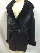 Leather Coat - Donna Pelle - Hooded - Black - Synthetic Fur Collar & Cuffs -Sz S