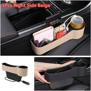 Right Side Car Seat Gap Storage Box Crevice Organizer Pocket Cup Holder 2 USB