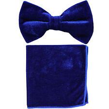 New in box formal men's pre tied Bow tie & Hankie Velvet Royal Blue