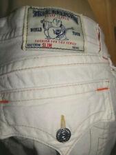 $259 TRUE RELIGION men's SLIM Flap pocket white button fly jeans-30 x 34-VGUC