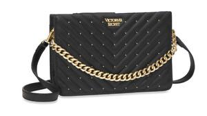 Victoria's Secret Black V Quilt Crossbody Bag Purse Studded Faux Leather NWT
