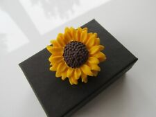 Handmade Large Golden Yellow Sunflower Brooch Pin - Hospice UK Donation - Boxed