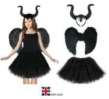 DARK DEVIL COSTUME Black Feather Girls Halloween Fancy Dress Outfit Party NEW UK