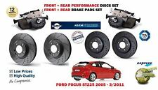 FOR FORD FOCUS ST 225 2005-> FRONT + REAR PERFORMANCE BRAKE DISCS SET + PADS KIT