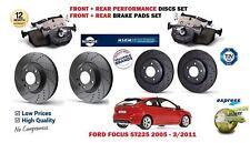 Ford Focus ST 225 2005 - > Delantero + Trasero Rendimiento Discos De Freno Kit Set + Almohadillas