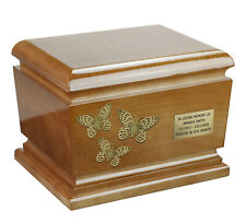 BEAUTIFUL SOLID WOOD CASKET FUNERAL ASHES URN FOR ADULT BUTTERFLIES ART URN