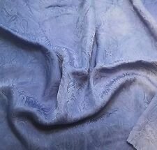 "Hand Dyed PERIWINKLE BLUE Silk JACQUARD Fabric PAISLEY 9""x22"" remnant"