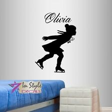 Vinyl Decal Customized Name Figure Skating Ice Little Girls Kids Sticker 2375
