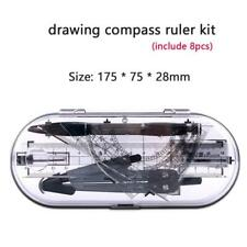 8 Pcs School Tools Precision Geometry Set Compass and Protractor for Student