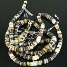 4- 5mm black lip natural shell heishi beads, 24 inch strand