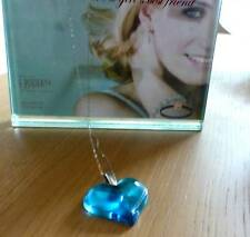 PENDANT LALIQUE FRESH LARGE HEART WHITE GOLD CHAIN  STUUNING BLUE - NEW ITEM