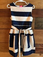 CREWCUTS GIRLS' SIZE 8 STRIPED SATEEN DRESS