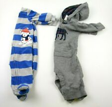 Lot of 2 Boys One PIeces Carters Size 3 Months Striped Blue Dog   L
