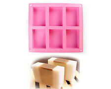 6 Cavity Square Soap Chocolate Bake Mold Silicone Mould Tray Homemade DIY Craft