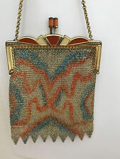 Antique Decorated German Chainmail Purse,c:1920 - Enameled Frame, Kisslock Clasp
