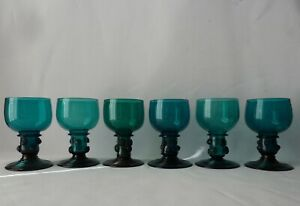 6 Antique Georgian early Victorian Hollow Stem Wine Glasses with Pruntis, h