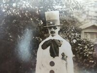 BOY, WITH BLACK DOG, DRESSED AS PIERROT THE SAD CLOWN RPPC POSTCARD EARLY (20TH