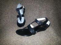 COACH-Velvet-Black Leather Thong Ankle Strap Slim Wedge Sandals-Size 9-Excellent