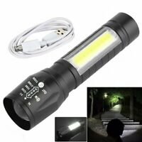 Portable T6 COB LED Tactical USB Rechargeable Zoomable Flashlight Torch Lamp