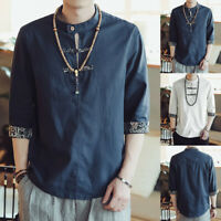 Mens Solid Linen T-shirt Half Sleeve Retrol Button Collar Tops Chinese Style Tee