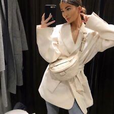 ZARA Ecru Jacket Blazer Dress With Belt. Size M-L