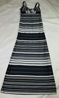 Milano Size Small White Gray Black Striped Sleeveless Full Length Maxi Dress